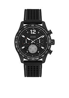 GUESS® Men's Black Ionic Plating and Silicone Strap Chronograph Watch