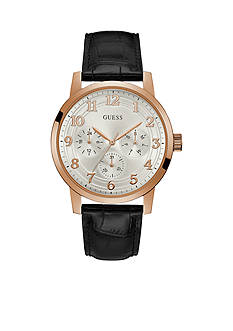 GUESS® Men's Rose Gold-Tone And Brown Strap Watch
