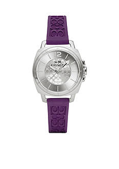 COACH Women's Stainless Steel and Purple Silicone Boyfriend Watch