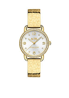 COACH DELANCEY GOLD PLATED SIGNATURE C BANGLE WATCH