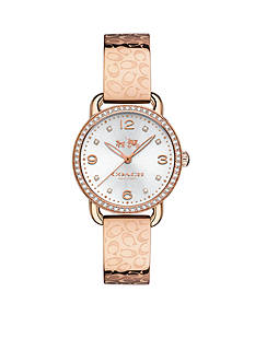 COACH DELANCEY ROSE GOLD PLATED SIGNATURE C BANGLE WATCH