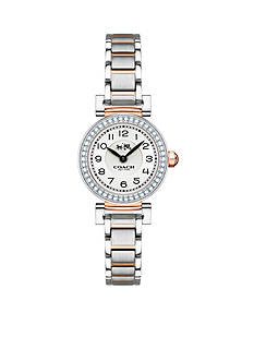 COACH MADISON FASHION STERLING SILVER AND ROSE GOLD-TONE BRACELET SET IN BEZEL WATCH