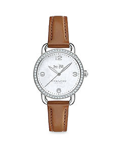 COACH WOMEN'S DELANCEY STAINLESS STEEL CRYSTAL STRAP WATCH