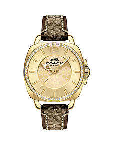 COACH Women's Boyfriend Gold-Plated Signature Strap Watch