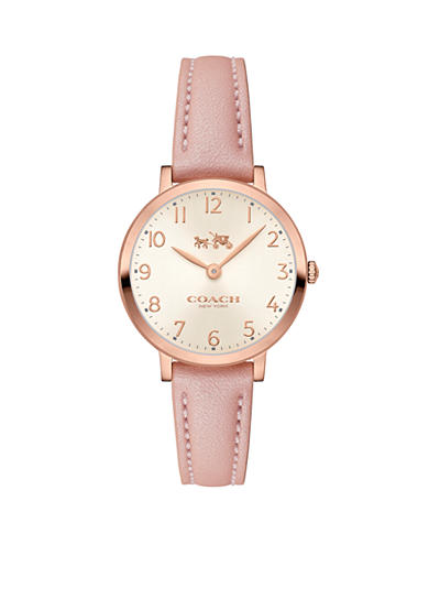 COACH Women's Slim Easton Rose Gold-Plated Leather Strap Watch