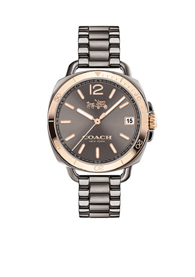 COACH Women's Tatum Grey Ionized Plated Sunray Dial Bracelet Watch