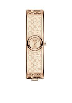 COACH Carnation Gold Tone Sunray Dial Signature C Bangle Watch