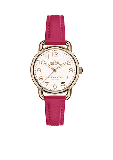 COACH Women's Delancey Carnation Gold Tone Sunray Dial Leather Strap Watch