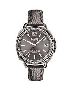 COACH Women's Tatum Grey Ionized Plated Set Leather Strap Watch
