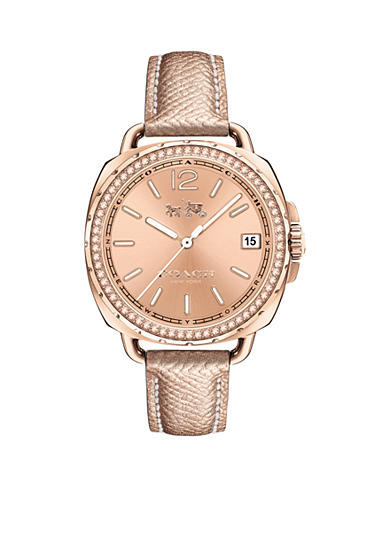 COACH Women's Tatum Rose Gold Tone Sunray Dial Set Leather Strap Watch