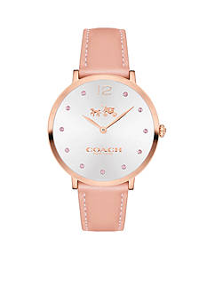 COACH Women's Slim Easton Breast Cancer Awareness Rose Gold Tone Set Leather Strap Watch