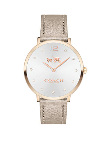 COACH Women's Slim Easton Carnation Gold Tone Sunray Dial Strap Watch