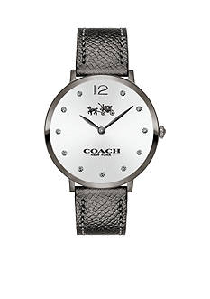 COACH Women's Slim Easton Gray Ionized Plated Sunray Dial Strap Watch