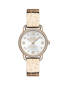 COACH Women's Delancey Carnation Gold-tone Set Sunray Dial Bangle Watch