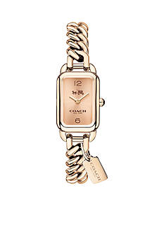 COACH Feminine Braided Glam Ludlow Rose Gold -Toned Watch