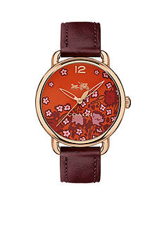 COACH Women's Delancey Rose Gold-Tone Floral Print Dial Leather Strap Watch