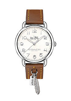 COACH Silver-Tone Delancey 36mm Brown Feather Watch