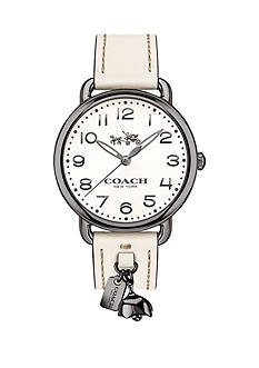 COACH Silver-Tone Delancey White Strap with Tea Rose Charm Watch