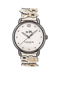 COACH Delancey Floral Applique Leather Strap Watch