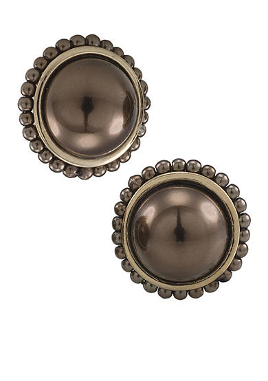 Carolee Sable Pearl Clip Button Earrings