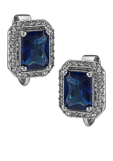 Carolee Simply Blue Rectangular Button Crystal Clip-On Earrings