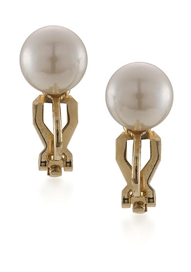 Carolee Classic 10-mm. White Pearl Clip Stud Earrings