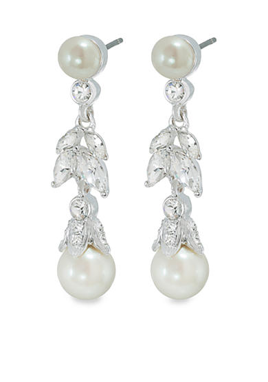 Carolee Floral Pearl Linear Drop Pierced Earrings