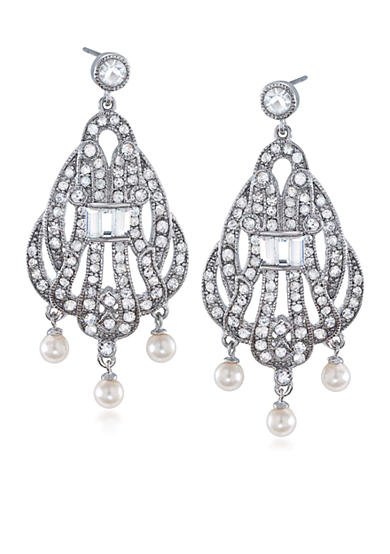 Carolee 40th Anniversary Outrageous Faux Three Pearl Drop Pierced Earrings<br>