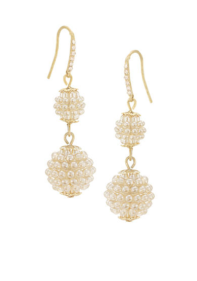 Carolee Mini Makeover Suede Pearl Double Drop Pierced Earrings