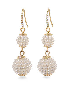 Carolee Mini Make Over White Pearl Double Drop Pierced Earrings