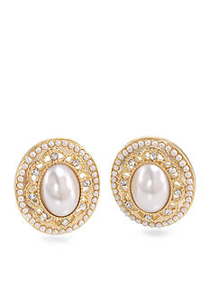 Carolee White Pearl Button Clip Earrings