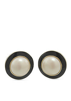 Carolee Optical Opposites Pearl Button Clip Earrings