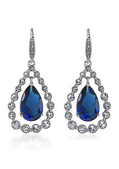 Carolee Uptown Girl Sapphire Crystal Teardrop Pierced Earrings