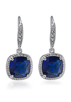 Carolee Uptown Girl Sapphire Crystal Cushion Drop Pierced Earrings