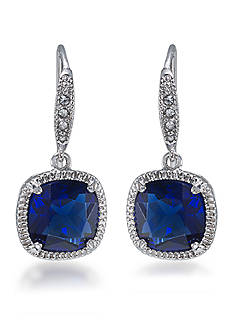 Carolee Elizabeth Sapphire Crystal Cushion Drop Pierced Earring