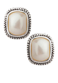 Carolee Large Pearl with Cable Edge Clip Earrings