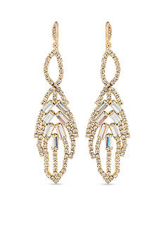 Carolee Gold-Tone ABS Leaf Chandelier Earrings