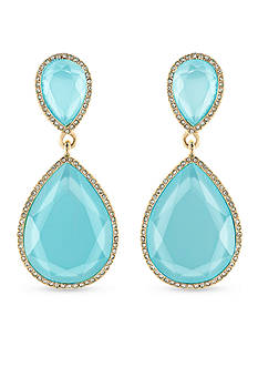 Carolee Gold-Tone Double Drop Turquoise Earrings