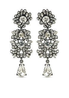 Carolee Hematite-Tone ABS Set in Stone and Clear Linear Chandelier Pierced Earrings