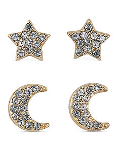 Carolee Gold-Tone ABS Vibrant Vibes Star and Moon Duo Pierced Earrings Set