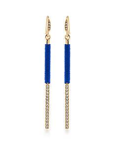 Carolee Gold-Tone Binge Blue Thread Wrap Earrings