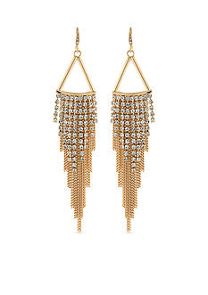 Carolee Gold-Tone ABS Color Binge Chain Chandelier Earrings