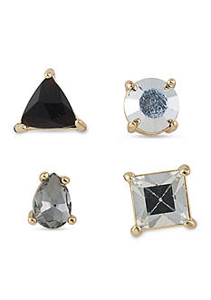 Carolee Gold-Tone ABS Color Binge Black Mixed Stud Earrings Set