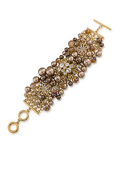 Carolee Gold-Tone Metropolitan Club Statement Cluster Bracelet