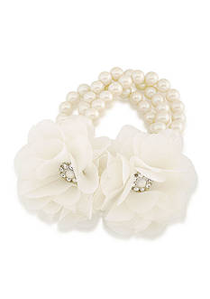 Carolee Silver-Tone Icing On The Cake Flower and Pearl Bracelet