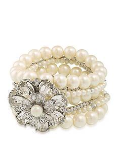 Carolee Silver-Tone Pearl Stretch Bracelet