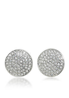 Carolee Oyster Bar Pave Disc Clip On Earrings