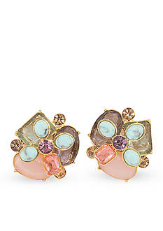 Carolee Gold-Tone The Hamptons Cluster Button Clip Earrings