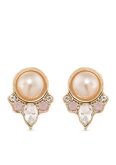 Carolee Gold-Tone Radio City Button Clip On Earrings