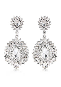 Carolee Carnegie Hall Clear Crystal Chandelier Clip On Earrings